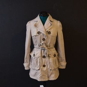Tan French Trench Coat w/ Animal Print Lining